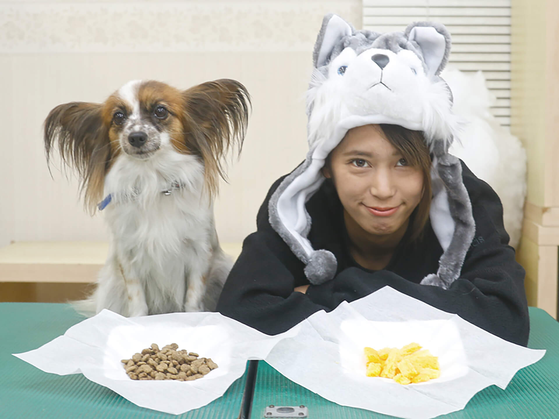 この写真はわんにゃんドーム2019のなりきりコンテストでの、犬になりきっているオーナーとその飼い犬です