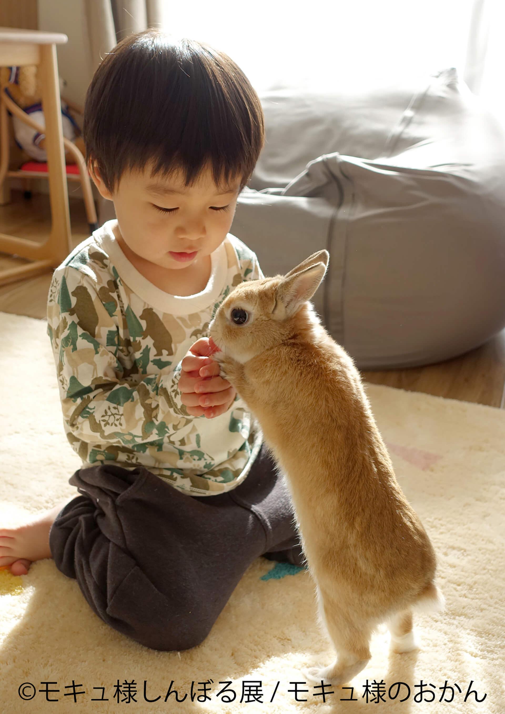 この写真はモキュ様しんぼる展の展示作品でモキュ様が子供と遊んでいます