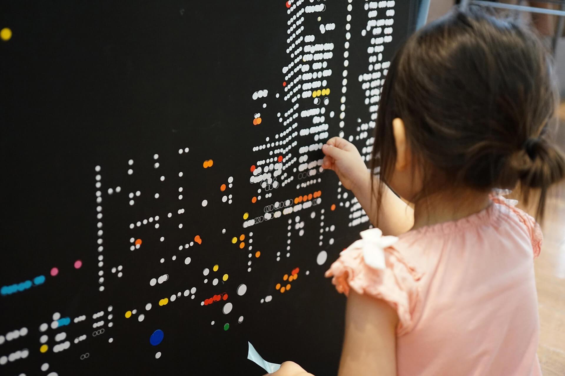 この写真はアトレ新浦安店「サマーカーニバル」の丸シートアートの作業風景です