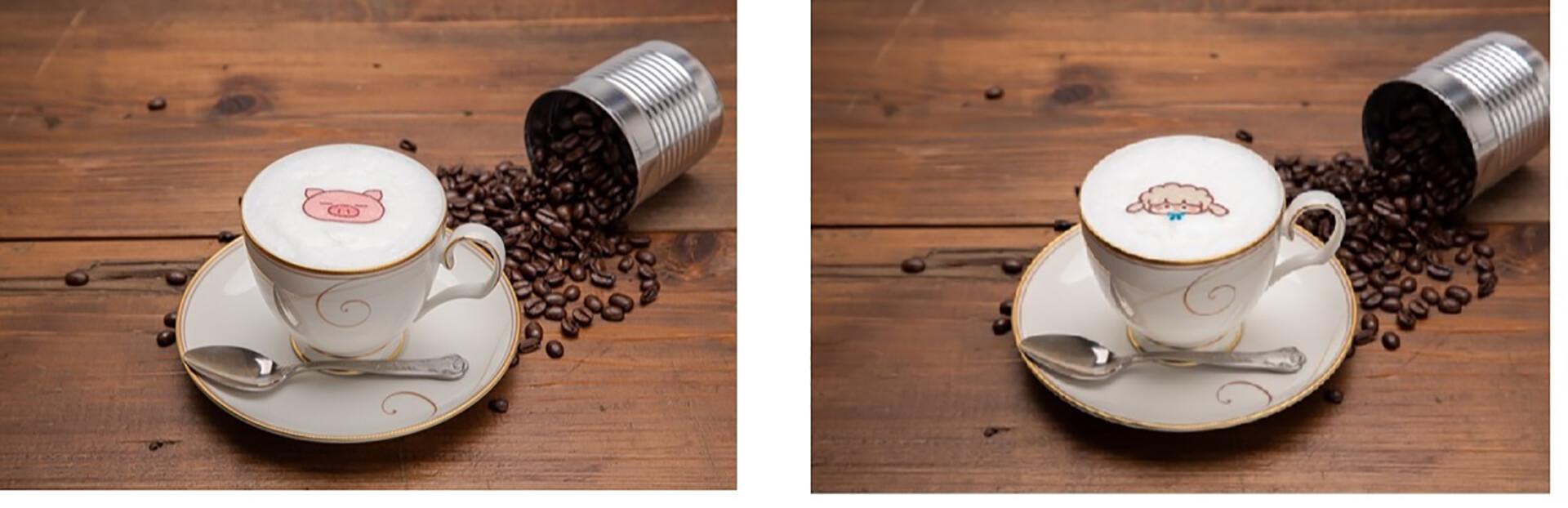 この写真はぶたたカフェのメニュー、めーたのカモミールミルクティーなどです