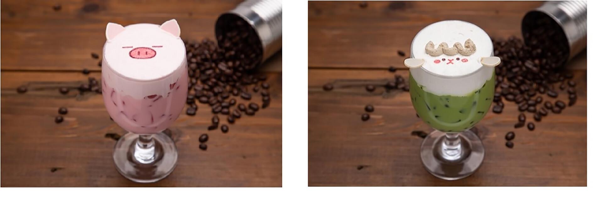 この写真はぶたたカフェのメニュー、めーたの抹茶ミルクなどです