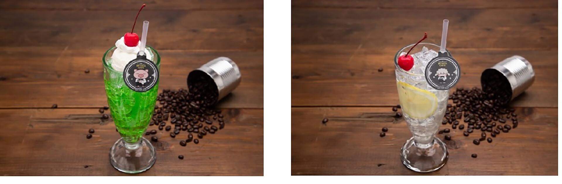 この写真はぶたたカフェのメニュー、レモンスカッシュなどです