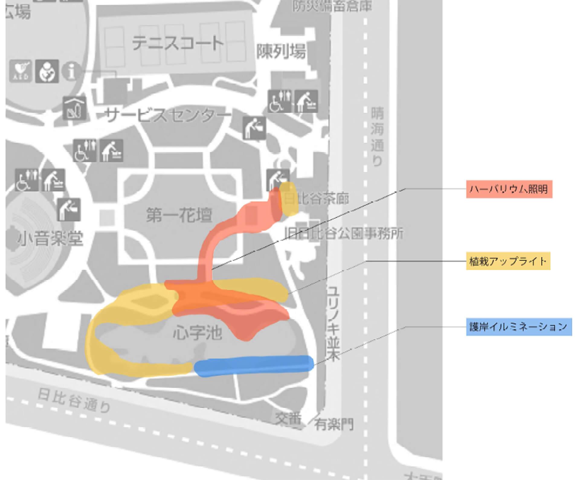 この写真はビーズハーバリウムinヒビヤアカリテラス2019の会場マップ案内図です