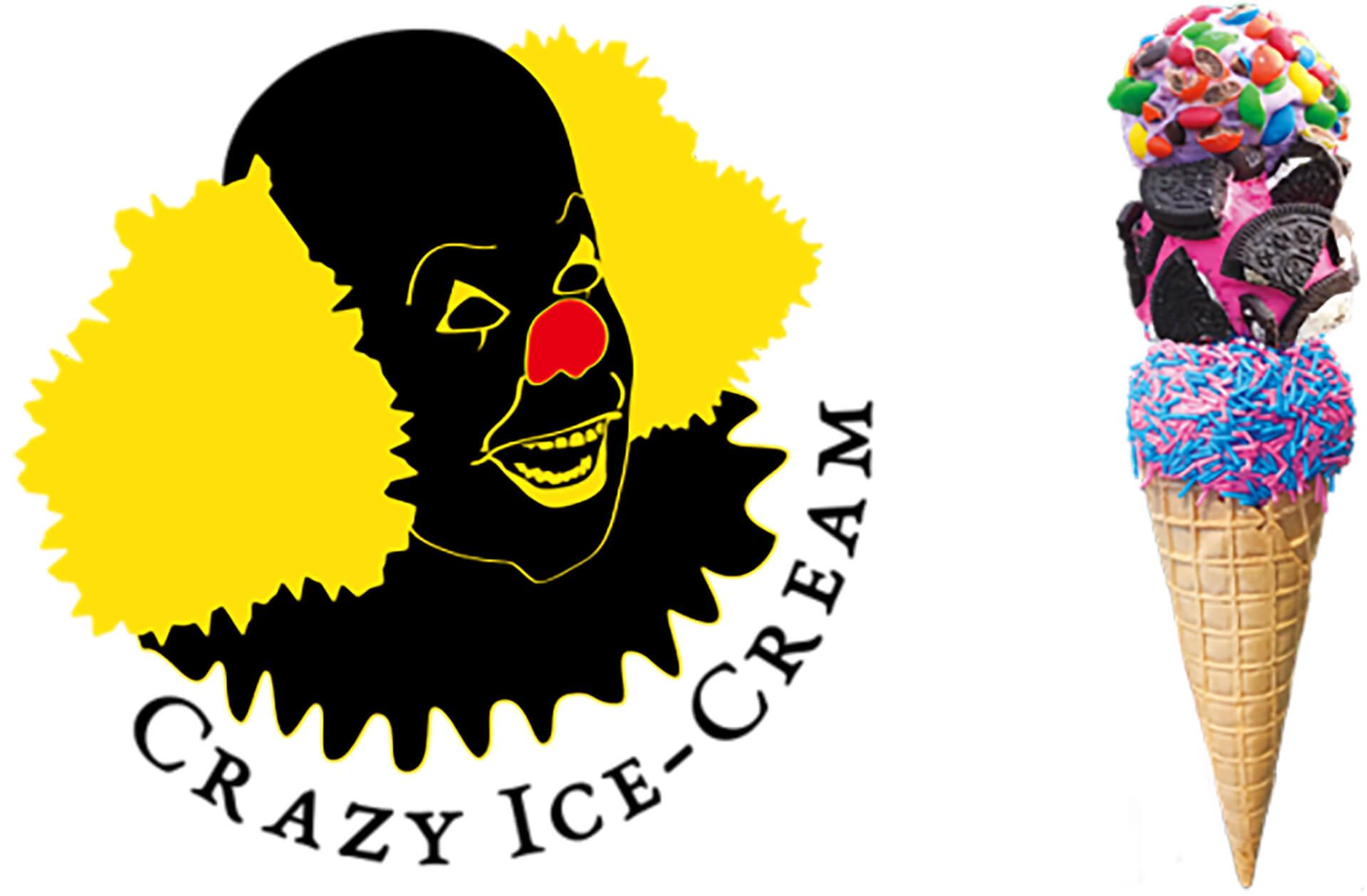 この写真は青山アイスクリームパークに参加する、CRAZY ICE-CREAMのロゴと商品です