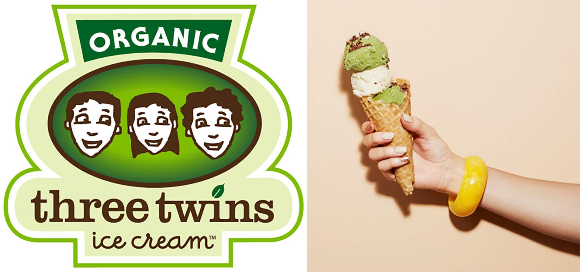 青山アイスクリームパークに参加する、Three Twinsのロゴと商品です