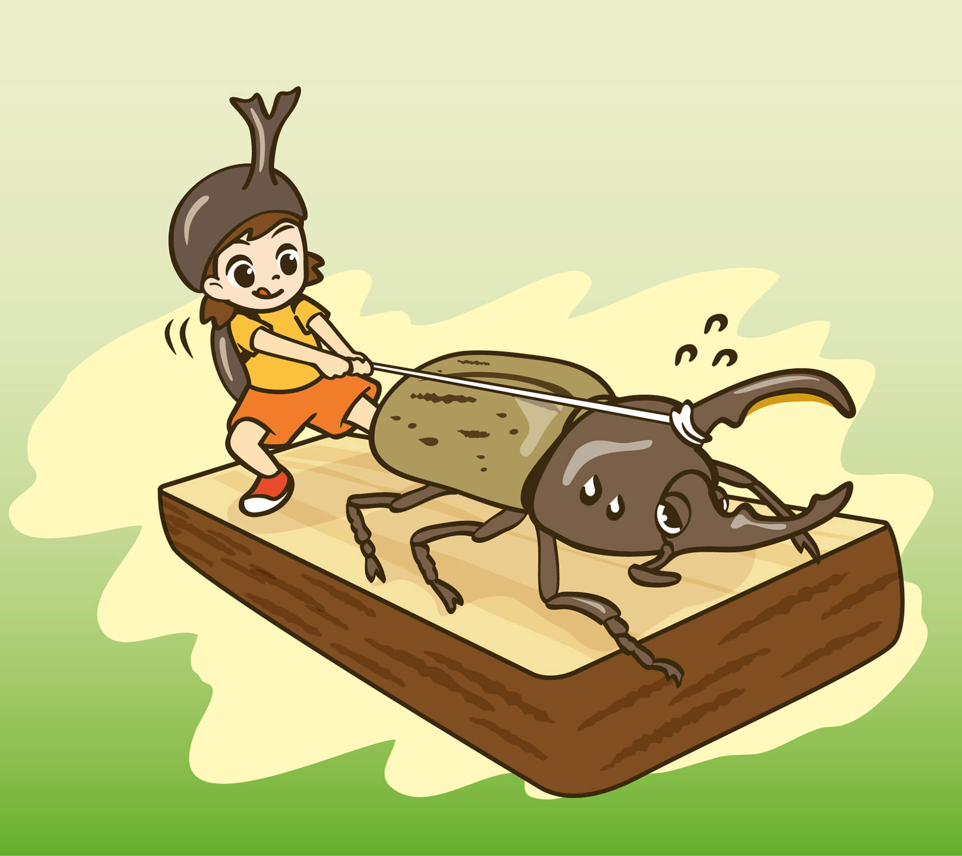 この写真は変身!昆虫スゴわざ展2019のコンテンツ紹介・ オーエス!ヘラクレス。カブトムシとの綱引きをするイラストです