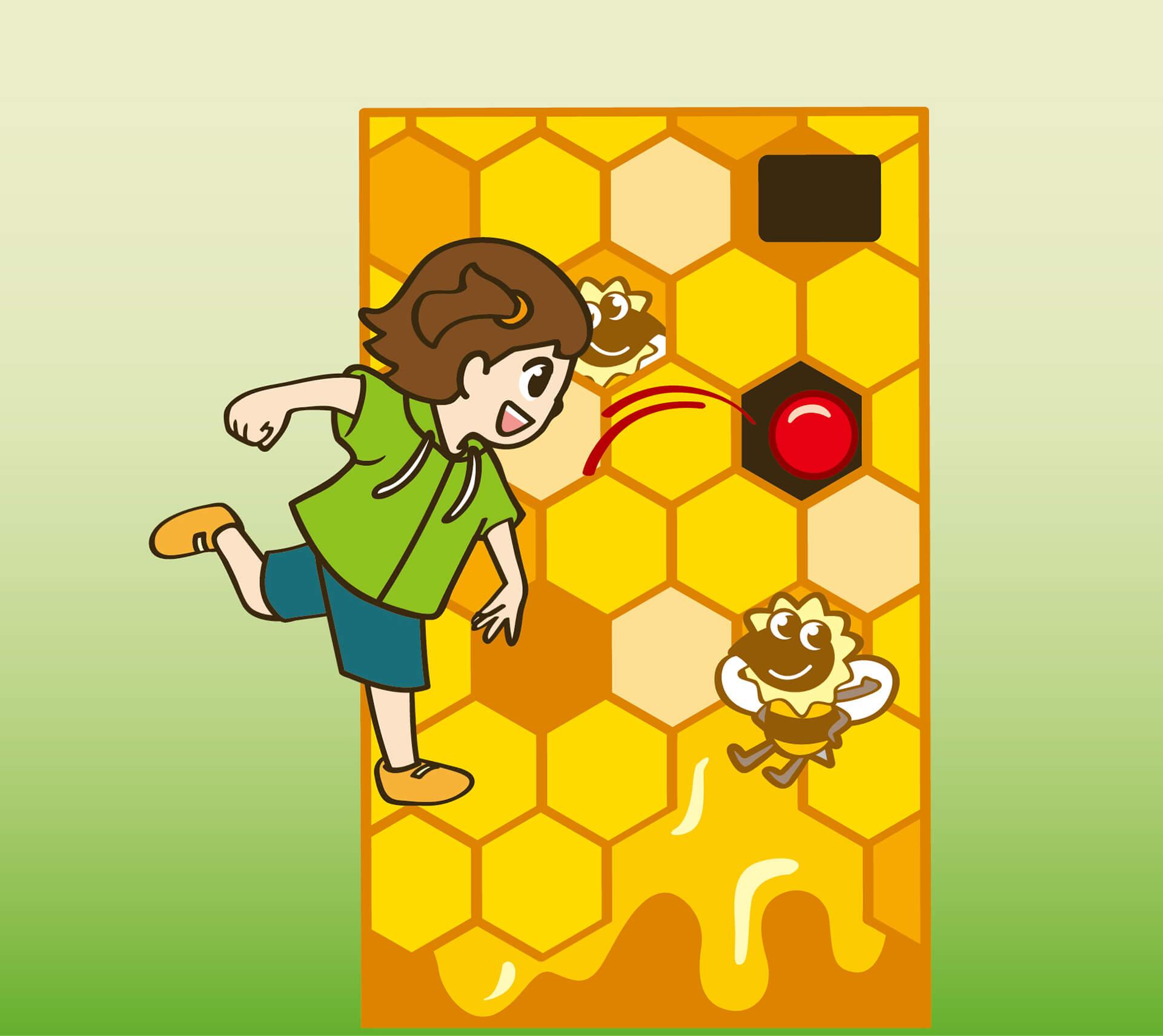 この写真は変身!昆虫スゴわざ展2019のコンテンツ紹介・ミツバチ・ハニーショット。蜂の巣めがけてボールを投げるイラストです