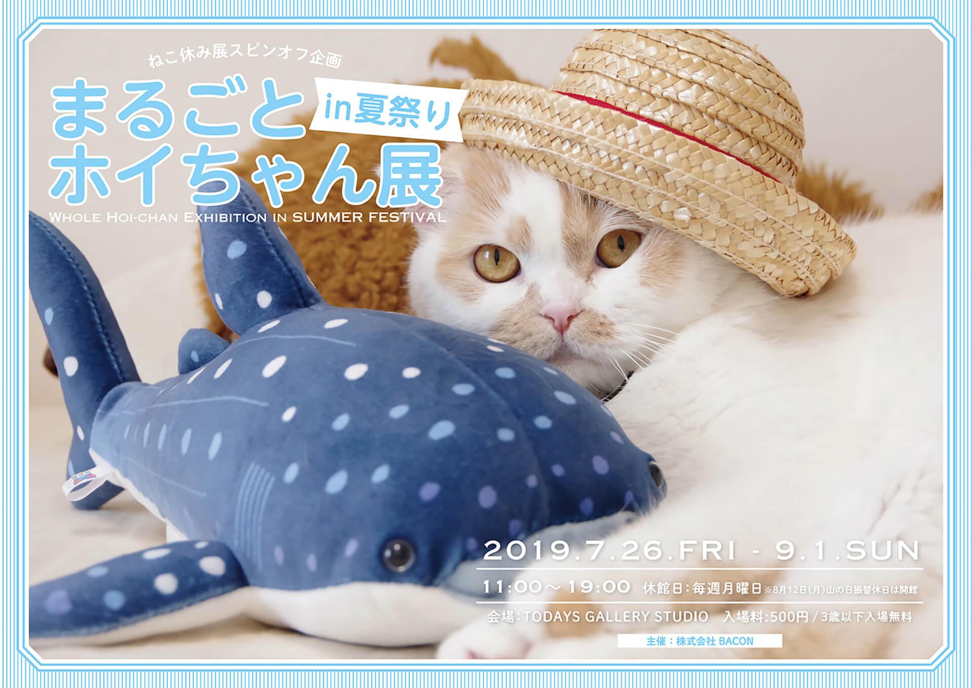 この写真はまるごとホイちゃん展 in 夏祭りの告知ポスター。ホイちゃんが麦わら帽子を被ったビジュアルです