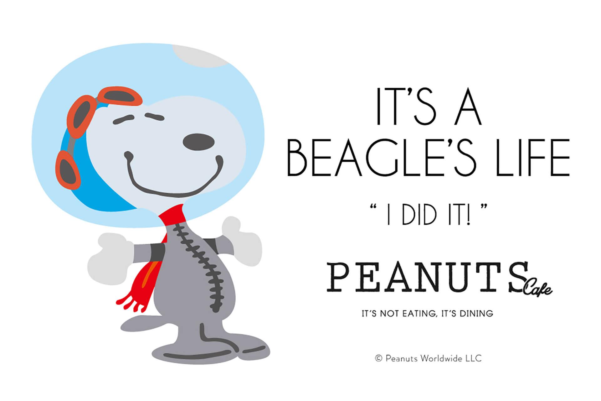 この写真は「PEANUTS Cafe」「PEANUTS DINER」全店開催中の、変装シリーズフェアの告知用バーナーです。宇宙飛行士に扮したスヌーピーのイラストです