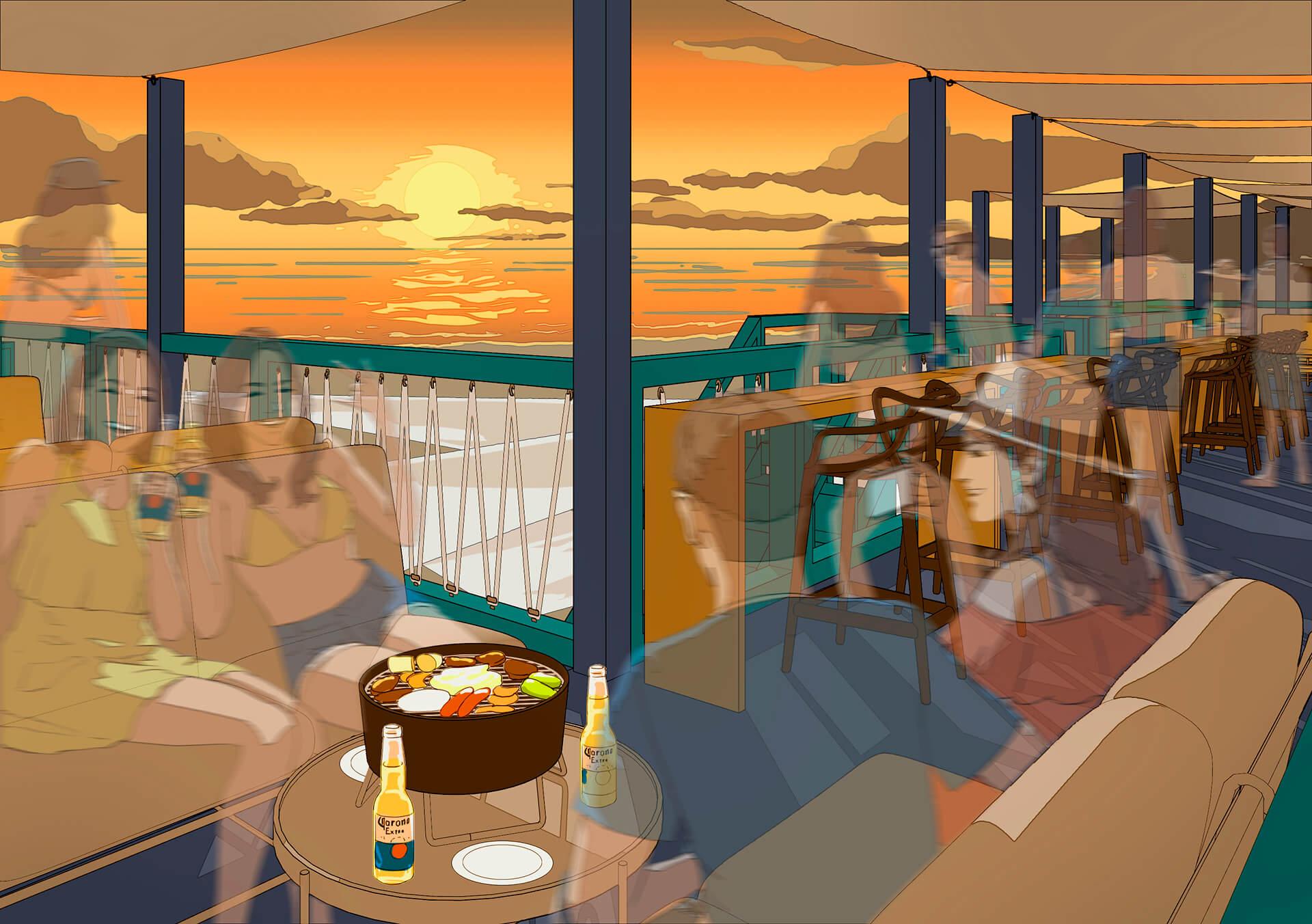 この写真は、海の家セイルハウスのイメージビジュアル。有料プレミアムリザーブシートの様子
