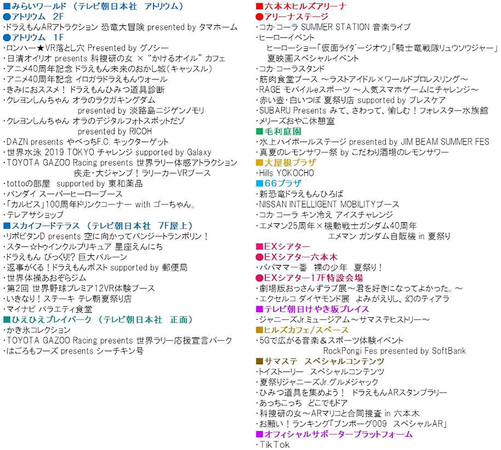 この写真は、テレビ朝日・六本木ヒルズ 夏祭りサマーステーションのコンテンツリストです