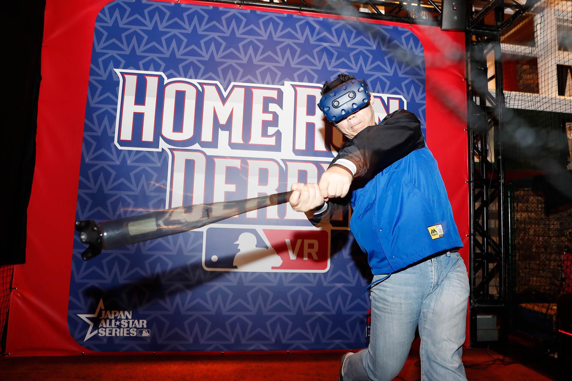 この写真はMLB ホームランダービーの、実際にバットを振り挑戦している様子です