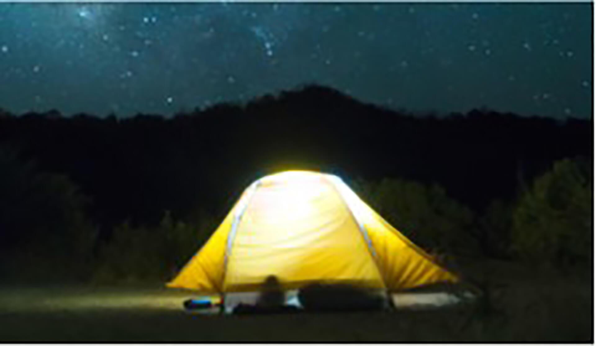 この写真は、サマーキャンプin中山競馬場の星空のもとテントが点灯している様子です