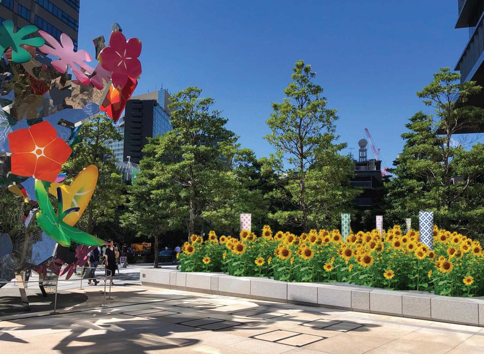 この写真はKIOI SUMMER 2019のひまわりテラス。ひまわりが咲き乱れています