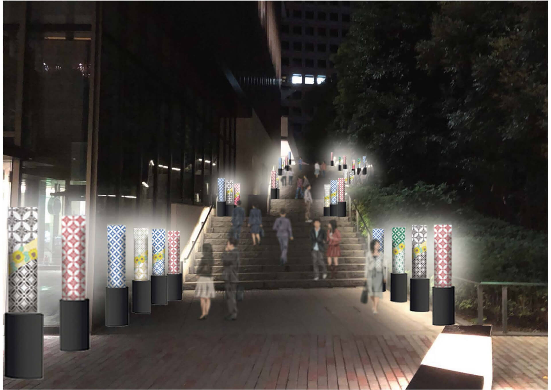 この写真はKIOI SUMMER 2019の光の回廊・幻想的な階段風景です