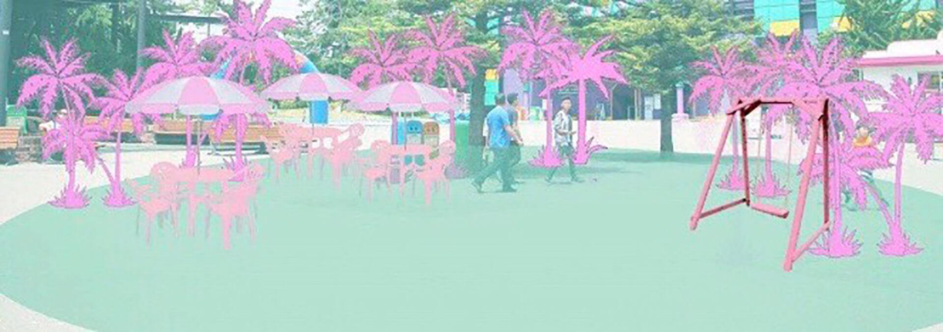 この写真は東京タピオカランドのイメージをイラストで。夏っぽい雰囲気となっています