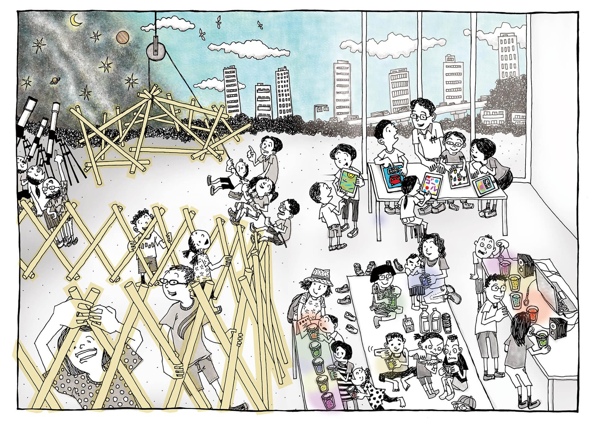 この写真は、東京ガーデンテラス紀尾井町で開催のひらめきそうぞうワークショップのメインビジュアル。たのしそうなイラストで構成されています