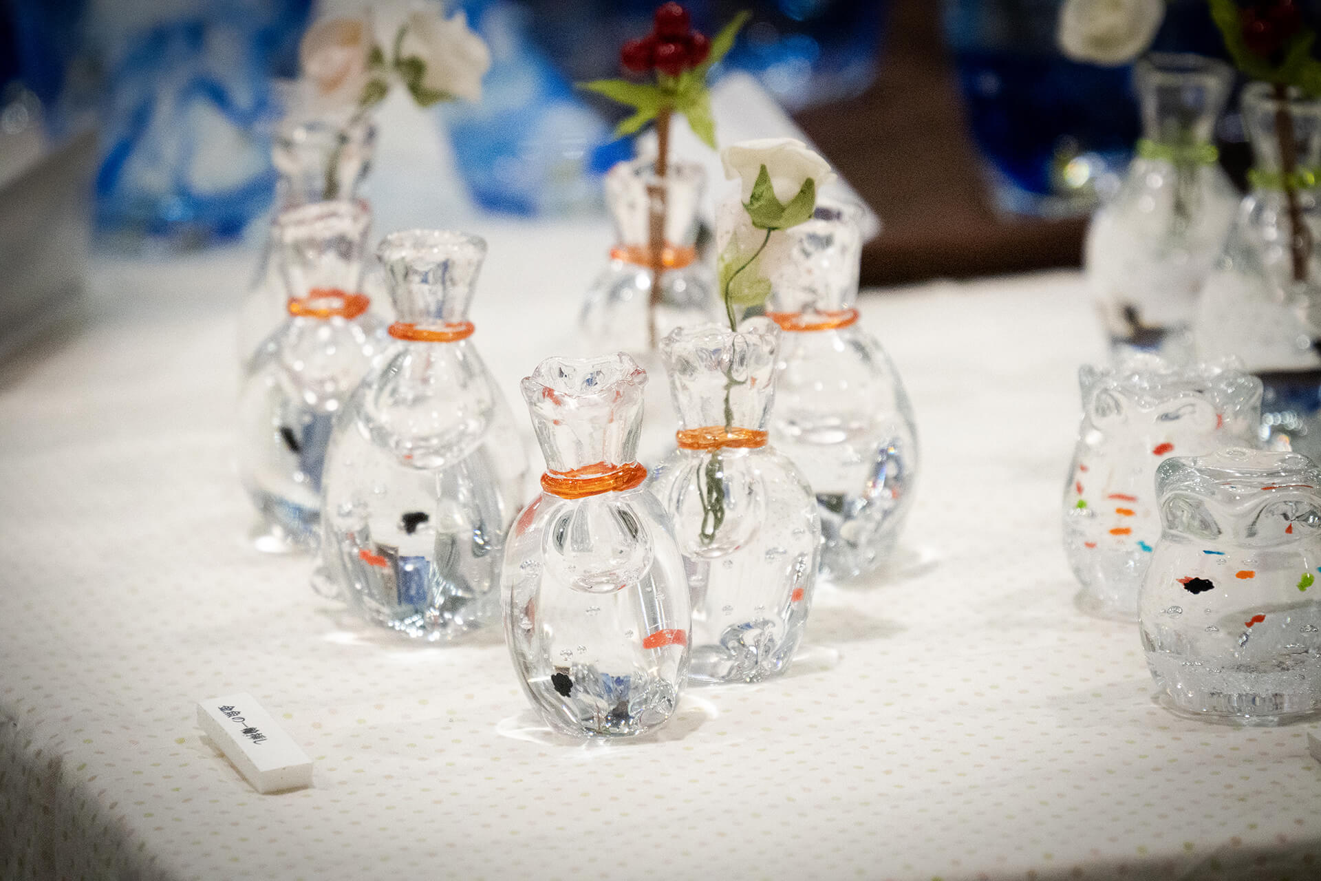 この写真はハンドメイドインジャパンに出展していたガラス小物
