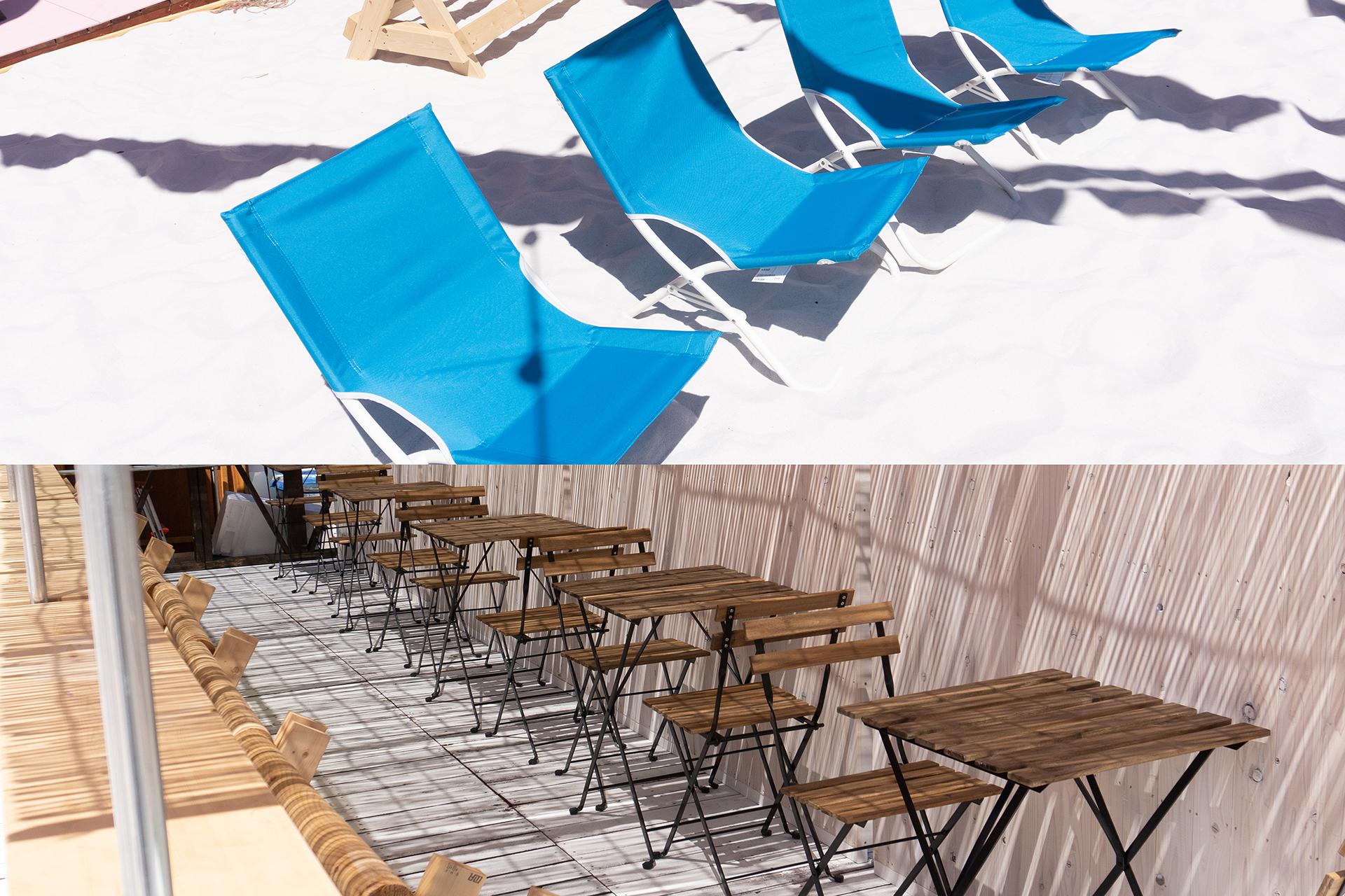 この写真は「レッドブリックビーチ」の砂浜のベンチ