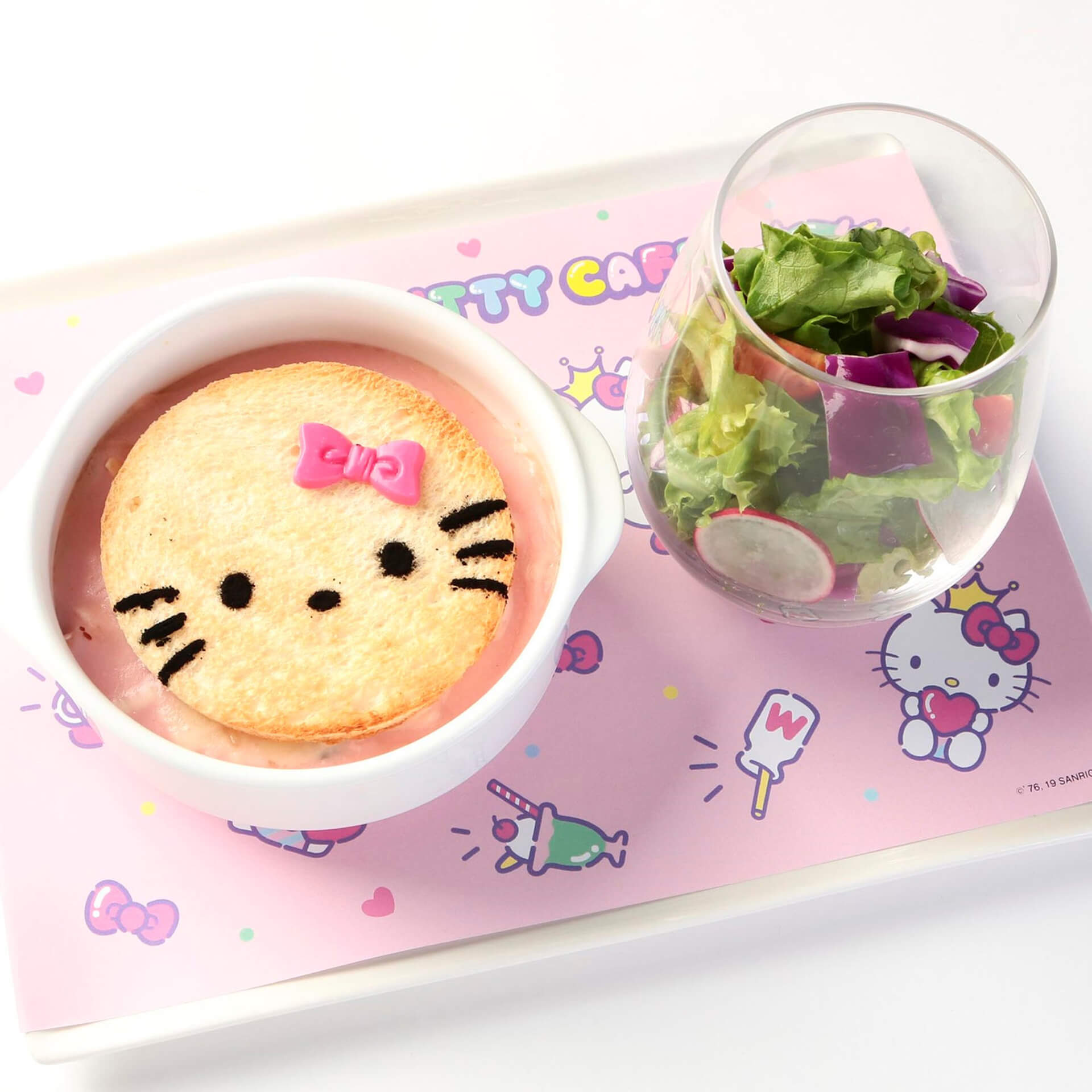 ハローキティカフェ食せるフード例・ハローキティのラブリーグラタンセット