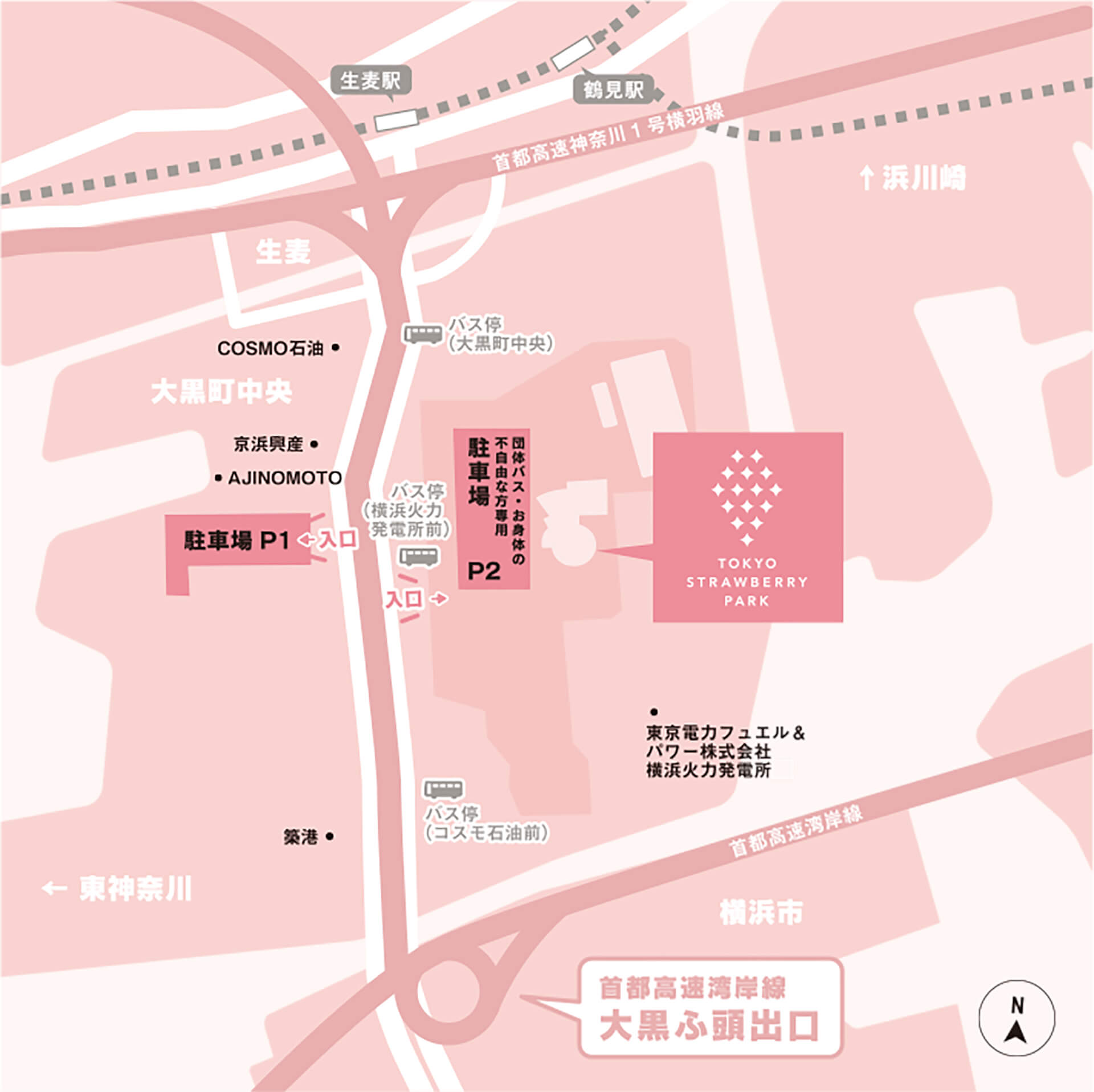 東京ストロベリーパークの俯瞰地図