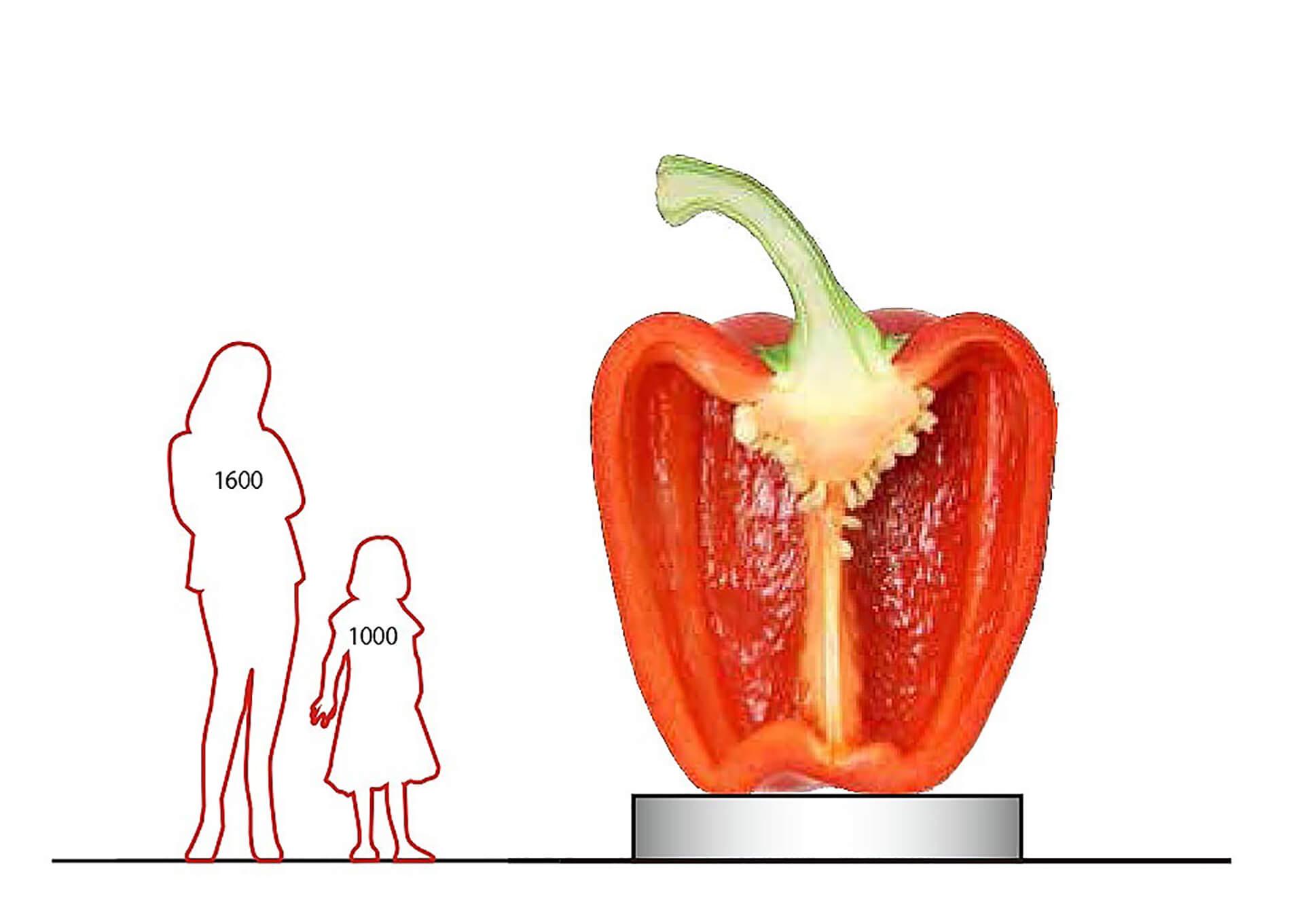 「野菜とデザイン」展に展示予定の2m越えのパプリカオブジェ