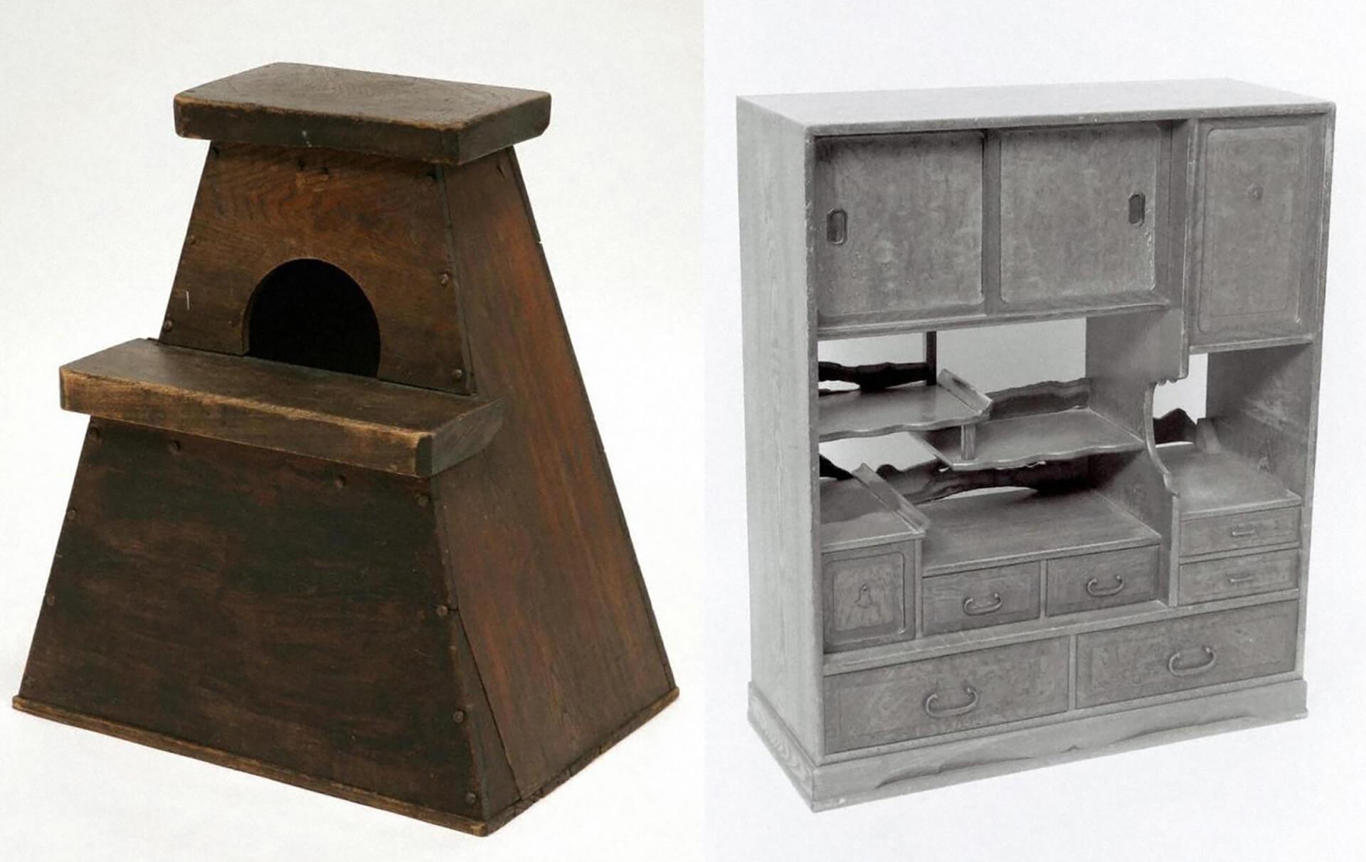 昔のくらしと家庭の道具2019の展示物・違い棚、踏み台