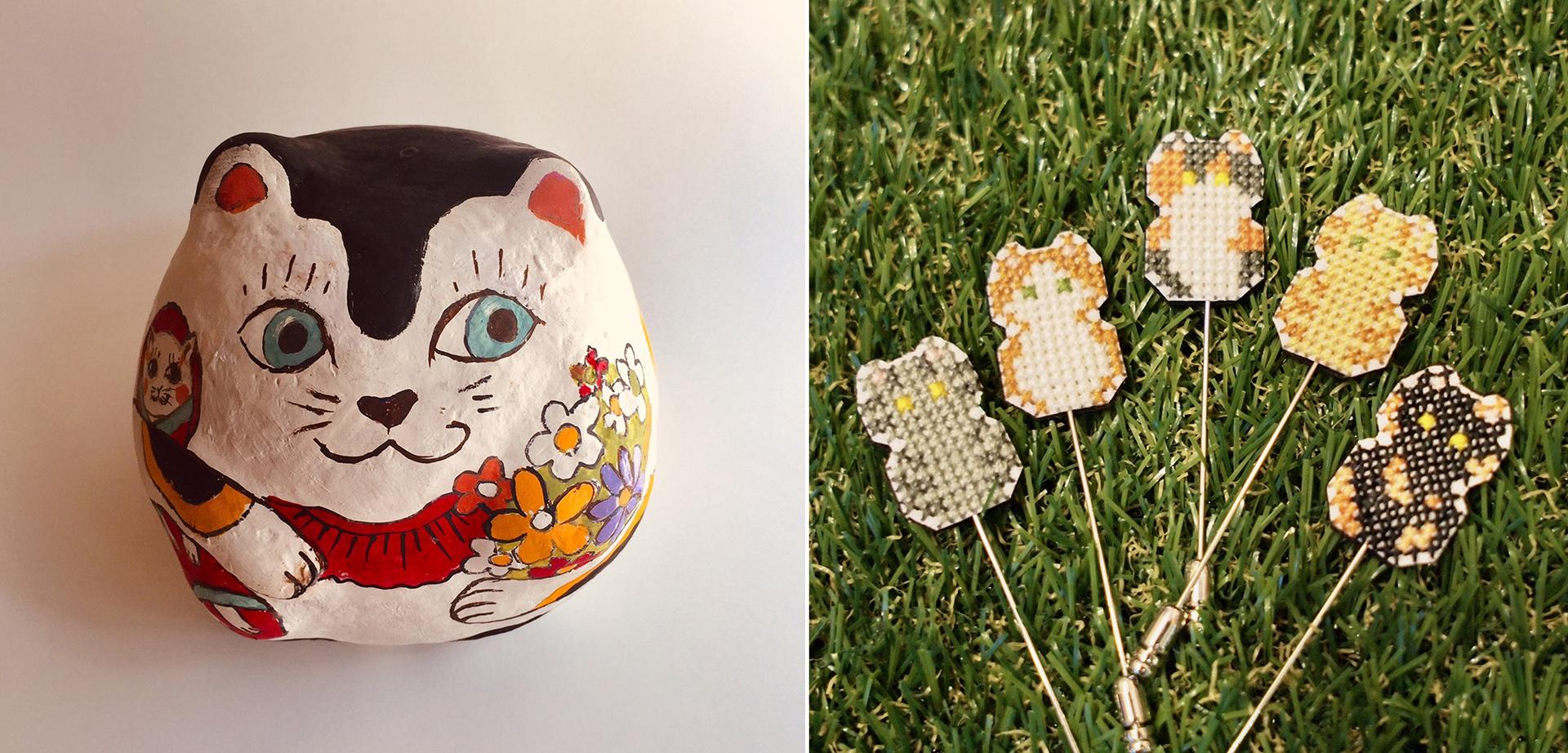 陶器猫の絵付け&猫の刺繍ブローチのワークショップ