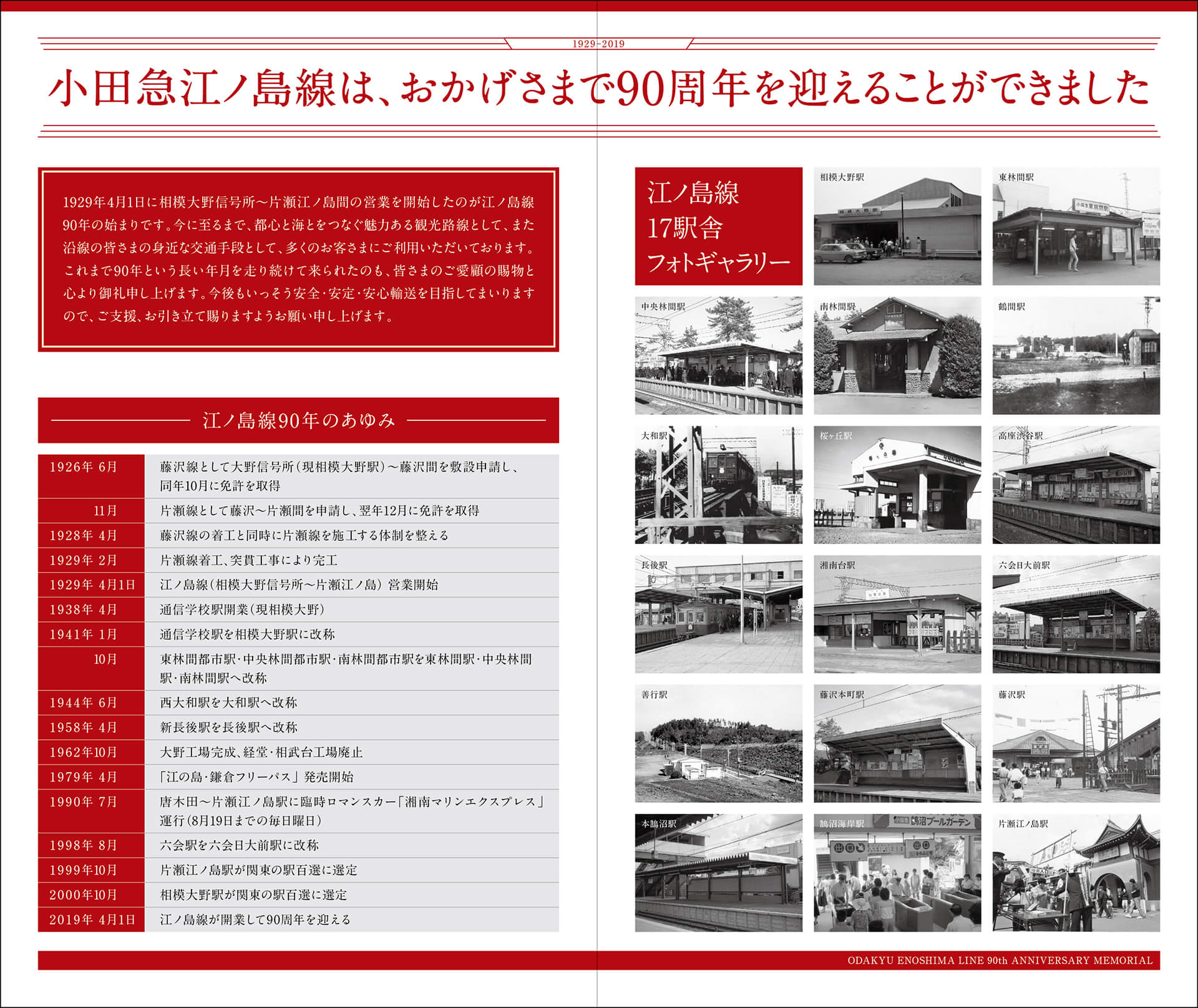 小田急江ノ島線 開業90周年記念イベント/記念乗車券台紙
