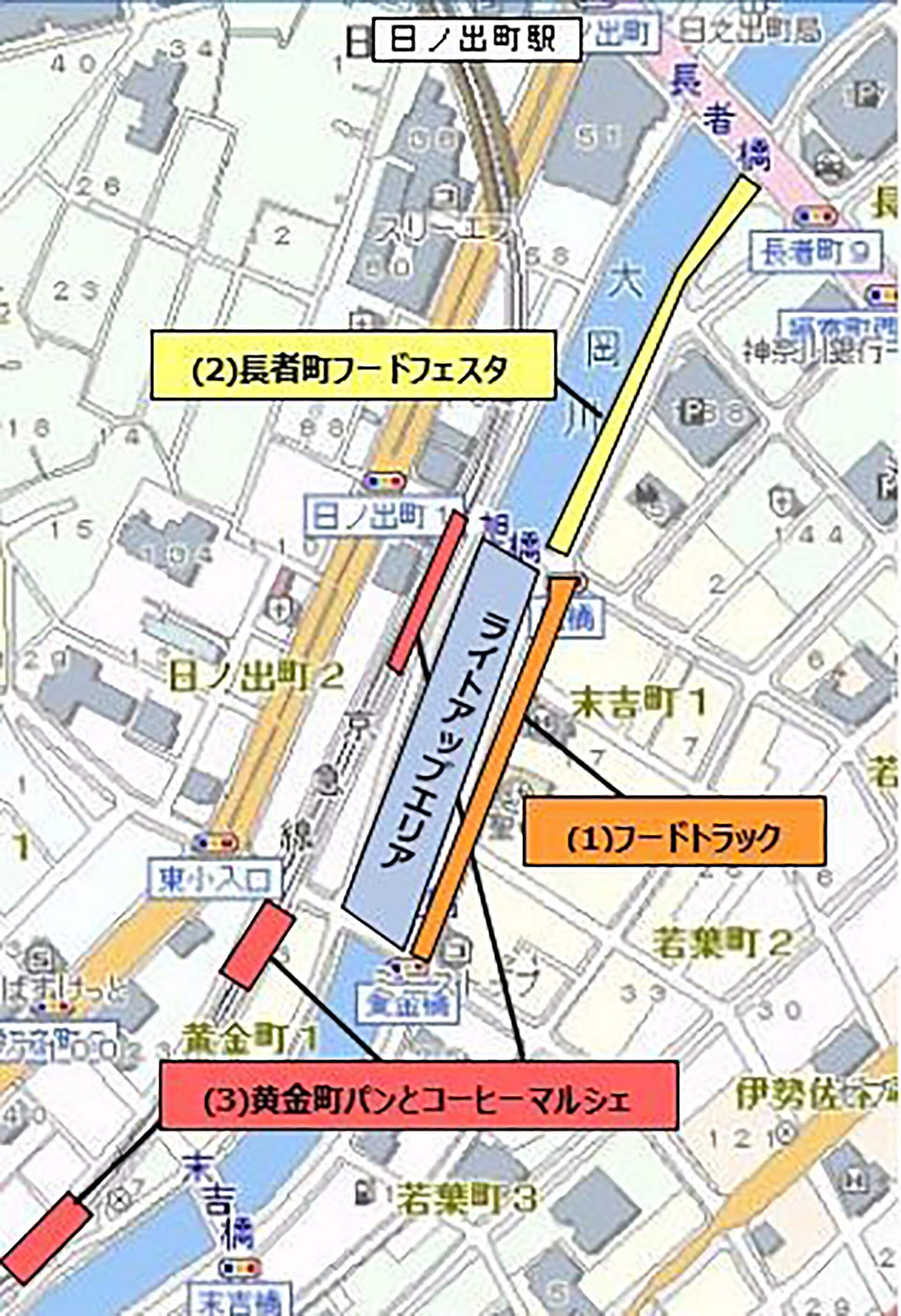 大岡川ひかりの川辺2019俯瞰地図