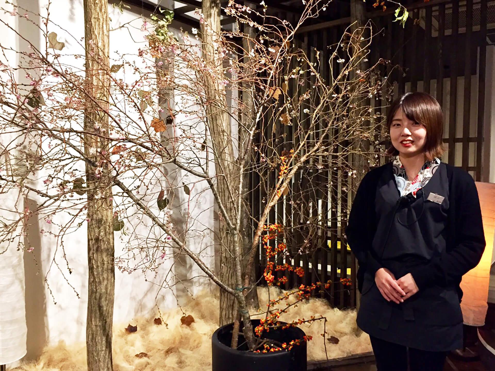 館内で冬桜鑑賞