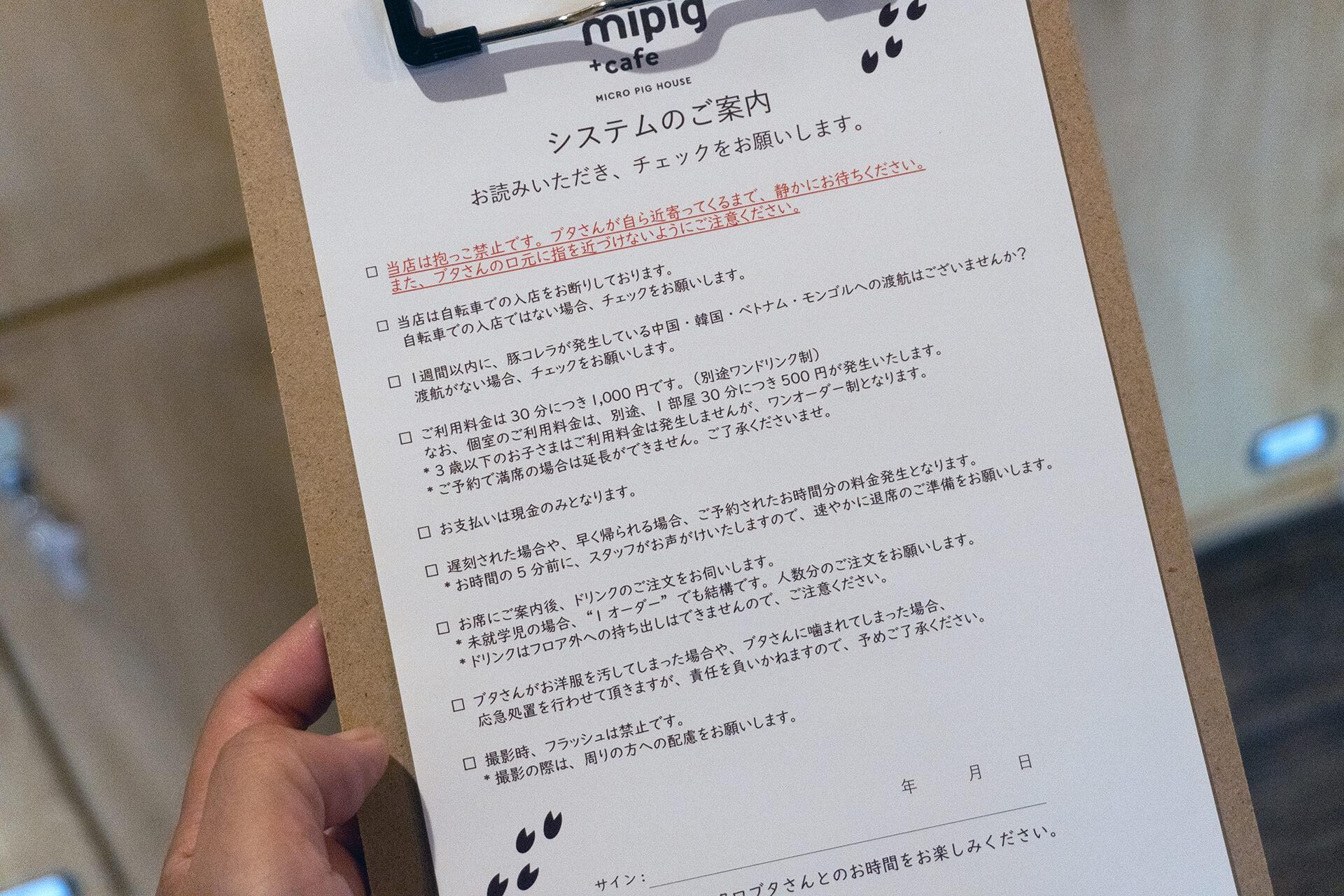 mipigcafe原宿店・注意事項