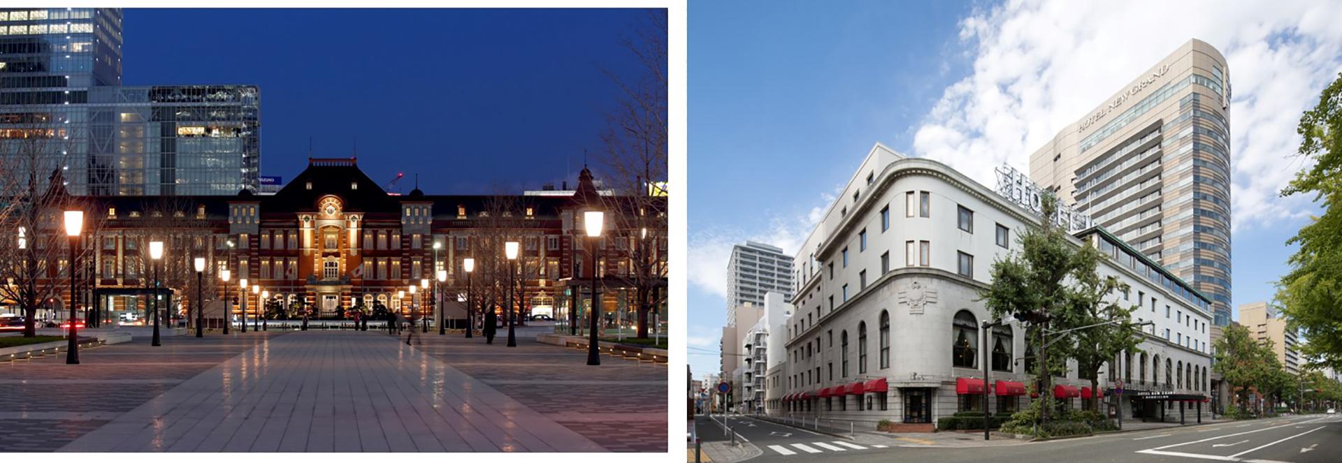 左)東京ステーションホテル、 右)ホテルニューグランド